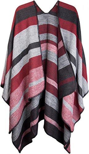 styleBREAKER Poncho mit Streifen Muster, Überwurf Cape, Wendeponcho, Damen 08010009 - Schwarz-Grau-Rot