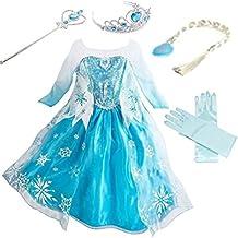 yogly madchen prinzessin elsa kleid kostum eisprinzessin set aus diadem handschuhe zauberstab