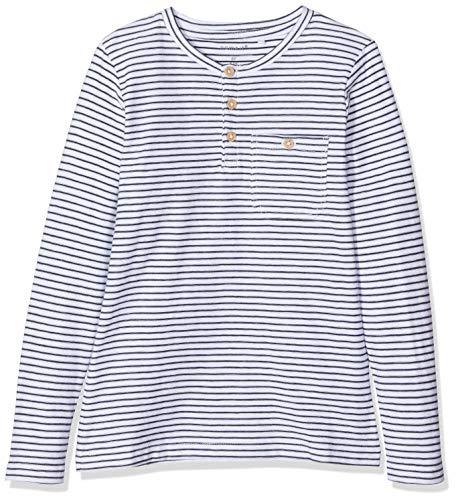 NAME IT Jungen Langarmshirt NKMVALENTIN LS TOP T NOOS, Weiß (Bright White), 134 (Herstellergröße:134-140)