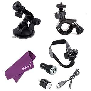 Ventes La (R) Kit de démarrage pour Sony Action Cam HDR-AS20/15 Support pour Casque vélo/voiture chargeur