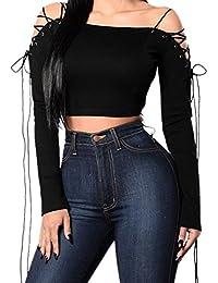 Petalum T-shirt Tops Manches Longues Femmes Strapless Bandage Épaules Dos Nues Off-épaule Off Shoulder Casual Elastique