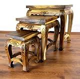 Hoher Opiumtisch im 3er Set | Massivholz Beistelltisch | Asiatische Blumenhocker | Couchtisch der Marke Asia Wohnstudio (Thailand) | Asiatische Möbel