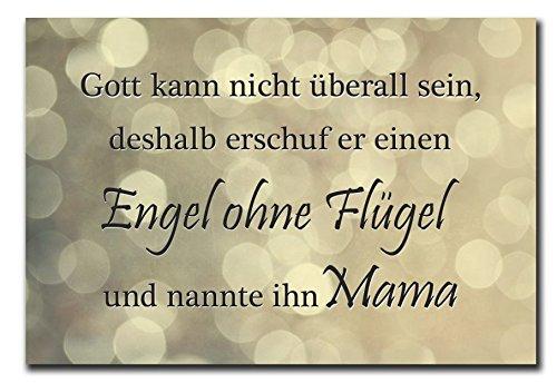 Hochwertiges Metallschild 30 x 20 cm aus Alu Mutter Verbund Gott kann nicht überall sein deshalb erschuf er einen Engel ohne Flügel und nannte ihn Mutter Deko Schild Wandschild