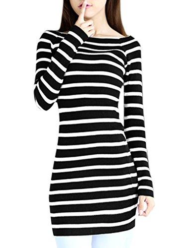 Femme Manche Longue Épaule Nue Pull-over Décontracté Robe Tricot Noir