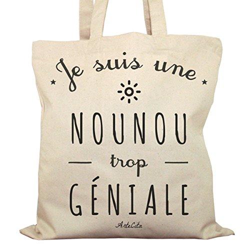 ArteCita ECO Fashion Tote Bag Imprimé Ecru - Toile en coton bio - Je suis une Nounou trop géniale