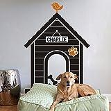 : Personalizados Nombre Vinilo Adhesivo para pared Perro Casa Pared Adhesivo (XL, cámara: Negro, pájaro y huellas: Amarillo Oscuro) por mairgwall