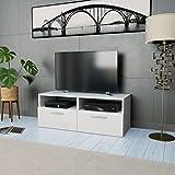 Festnight Meuble TV Moderne avec Etagère Compartiment en Aggloméré 95 x 35 x 36 cm Blanc