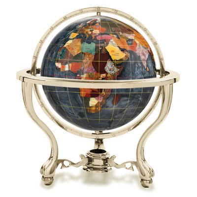 Preisvergleich Produktbild Alexander Kalifano Gemstone Globe with Gold Colored Commander 3-Leg Table Stand, 9-Inch, Black Opal Opalite Ocean by Alexander Kalifano