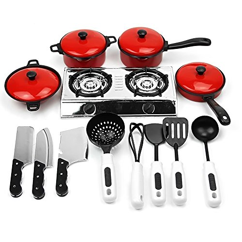 13 PCS Kids Play House Kitchen Toy Educational Toy Include Kitchen Pots Pans Cooking Food Dishes Cookware Cookware Playset