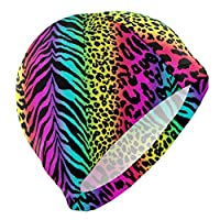 Tyueu Unisex Swimming Hat Rainbow Animal Zebra Swimming Cap Swim Cap Big Head Men Women Bathing Cap