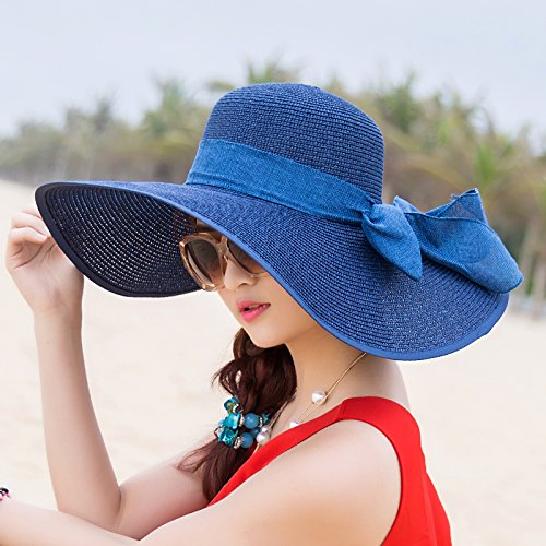 Beach Hat, Summer Sun Hat, Sunscreen, Large Folding Straw Hat, Anti Ultraviolet Beach,Children'S Money (Around 52Cm),A Dark Blue Color