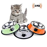 Feeding Bowl Cat, Legendog 3 Pieces Stainless Steel Non-slip Cats Bowl Cat Bowl Set | Food Bowl Cat | Drinking cup cat | Food Bowl Cat | Water feeding bowl | Cat Food Water Bowl Bowl | for cats rabbit hamster 11.5 * 15.5 * 3.5 CM