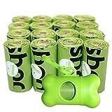 Usboo Sacchettini per Pupù Pogi - 16 Rotoli (240 Sacchettini) con Distributori - a prova di perdita, Biodegradabili, Ecologici,non Profumati, Sacchetti per bisogni dei cani