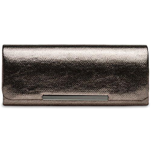 CASPAR TA346 Bolso de Mano Fiesta Largo para Mujer/Clutch Elegante de Satén, Color gris pardo;Tamaño:Talla Única