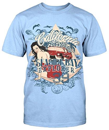 California Seaside Bay T-Shirt Sommer Party Herren Kult Neu Retro Trend Explorer Hellblau