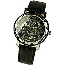 Tonsee Classic Men's Black Leather Dial Skeleton Mechanical Sport Army Wrist Watch 3 ATM