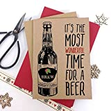Luxus Kraft Weihnachten Karten Wonderful Time für ein Bier Festive mit dicken Qualität Briefumschläge, Pack of 6 cards Kraft