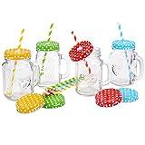 GRÄWE Henkel-Gläser mit Deckel und Strohhalm, 4er Set - Trinkgläser (0,4 Liter) mit Schraubdeckeln (mit Trinkhalm-Loch/geschlossen - blau, grün, rot, gelb)