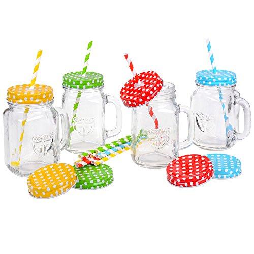 r mit Deckel und Strohhalm, 4er Set - Trinkgläser (0,4 Liter) mit Schraubdeckeln (mit Trinkhalm-Loch/geschlossen - blau, grün, rot, gelb) (Kunststoff-gläser Mit Strohhalmen)