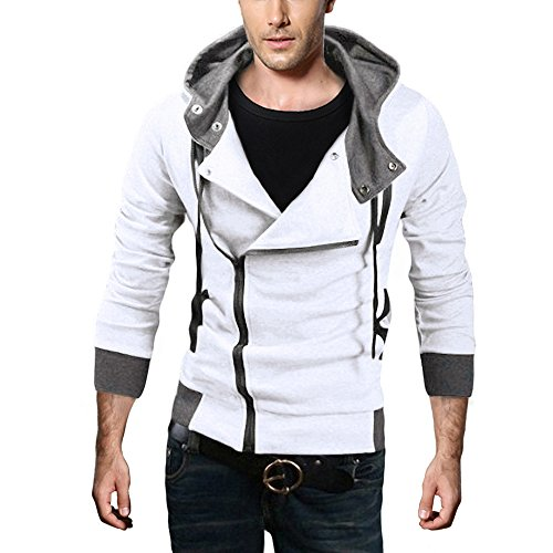 DJT Herren Slim Fit Hoodie Kapuzenpullover Sweatshirt Jacke Pullover Schraegzip Cosplay Kostuem Weiss (Cosplay L Kostüm)