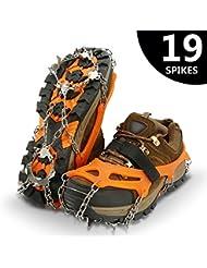 IPSXP Steigeisen, Schuhkrallen mit 19 Edelstahl Zähne Spikes Universal Anti-Rutsch Grödel für Winter High Altitude Wandern Bergsteigen auf EIS Schnee Gletscher (M/L/XL)