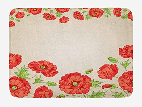Floral Bath Mat, Illustration of a Card with Poppy Flowers Floral Arrangement Pattern Artwork, Plush Bathroom Decor Mat with Non Slip Backing, Red And Beige 19.6X31.4 inches/50X80cm