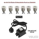 VBLED Mini Bodeneinbaustrahler für außen, warm-weiß, IP67 Schutz, Rund aus Edelstahl (6er-Set)