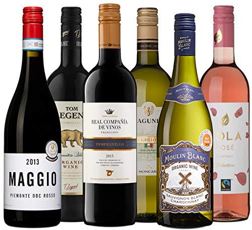 Wine A Porter \'Die Besten für jeden Tag\' Wein - Set, 6 trockene Flaschen Weiß-, Rosé- und Rotwein aus Frankreich, Italien, Spanien, Kalifornien & Südafrika, Jahrgänge 2013/15/16/17, 6 x 0,75 l