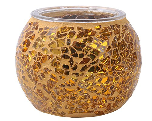 Leegoal (TM) mosaïque en verre Thé Lumière Bougie votive Bougeoir Supports Support, Verre, Doré