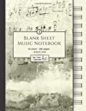 Blank Sheet Music Notebook: Music Manuscript Paper / White Marble Blank Sheet Music / Notebook for Musicians / Staff Paper / Composition Books Gifts ... * Large * 12 Stave * 102 pages *...