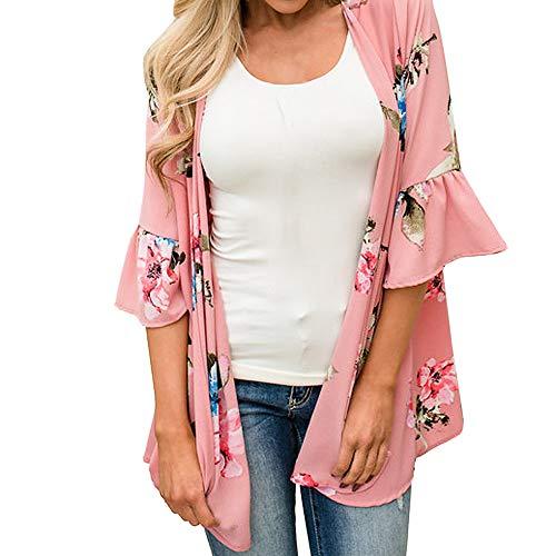 ESAILQ Mode Damen Chiffon Schal Print Kimono Cardigan Cover up Bluse Beachwear(XL,Rosa)