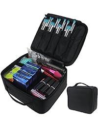 TRAVELMALL compacto profesional maquillaje tren caso cosmético organizador con ajustable para el hombro para uñas de juego de cepillo de maquillaje herramientas de belleza Negro Black01