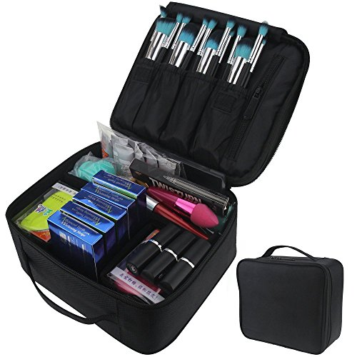 Travelmall Compact Professional Make-up Zug Fall Kosmetik Organizer mit verstellbare Schulter für Make-up-Pinsel Set Nagel beauty Werkzeug, Schwarz Black01