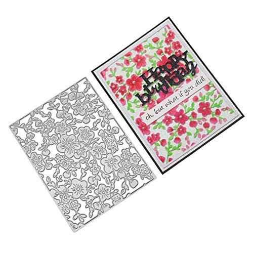 AchidistviQ Pflaume Blume Metall Stanzformen DIY Scrapbook Präge Papier Karten Album Schablone Kohlenstoffstahl Messer Muster Blumen Hintergrund Silber -