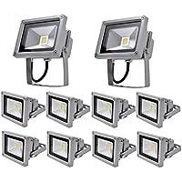 Leetop Pack of 10,10W IP65 a Prueba de Agua al Aire Libre Focos LED la lámpara Fresco Frío Reflector Bombilla Blanca (10 Piezas)