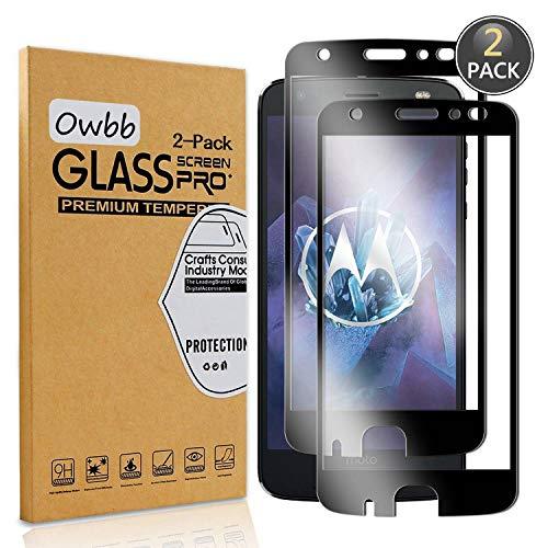 Owbb [2 Stück] Schwarz Gehärtetes Glas Display schutzfolie Für Moto Z2 Force Full Coverage Schutz 99% High Transparent Explosionsgeschützter Film