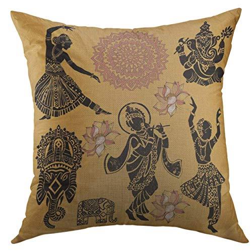 (Jocper Dekorativer Kissenbezug für Couch Sofa, Buddha Indische Symbole Frau Elefant Maske Thailand Dance Home Decor Kissenbezug 45,7 x 45,7 cm)