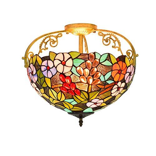 Tiffany-Art-Deckenleuchte, Trauben-Glasschirm-hängende Hängende Lampe, Kristallkorne-Unterputzdecken-Beleuchtungs-Befestigungen, 3 Lichter-Dekorations-Wohnzimmer-Schlafzimmer-Innenbeleuchtung -