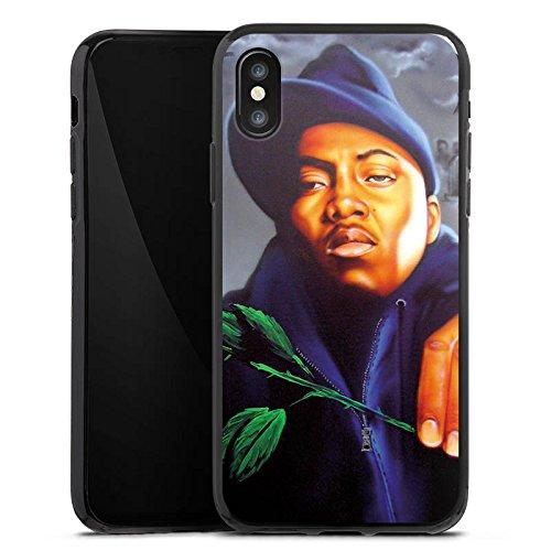 Apple iPhone X Silikon Hülle Case Schutzhülle Nas Rapper Illmatic Silikon Case schwarz