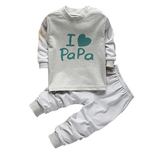 Baby Junge Kleidung Satz,OSYARD 2 STÜCK Baby Jungen Kleidung Anzug Kinder Infant Party Anzüge Outfits Sets,1 Set Kleinkind Streifen Drucken Anzug Tops T-Shirts Oberseiten + Hosen Pants Bekleidungsset