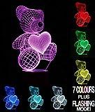 3D-Lampe – Optische Täuschung, Teddybär wechselt die Farbe (7 verschiedene Farben)