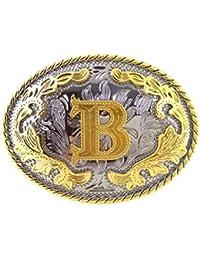 P Prettyia Rodeo Classique Lettre Initiale B Ceinture Boucle Arabesque  Motif Western Cowgirl e9a3eb2b04b