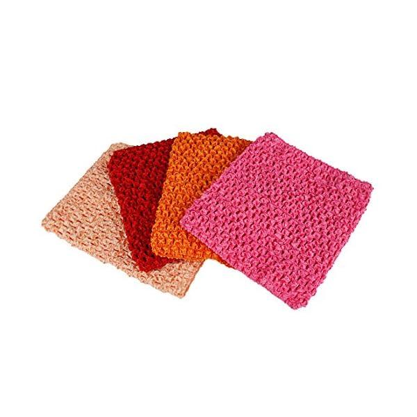 Kelis 6 Pulgadas Colores Surtidos bebé niña Crochet tutú Tubo Tops Pecho Wrap Wide Crochet Diademas Pack de 4 1