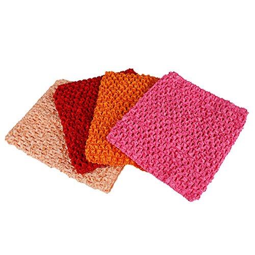 Strapless Rose (Andux 6 Zoll Tube-Top Strapless Top Bustier Elastische Band Stirnband Für Tutu Kleid Packung mit 4 ETMX-01 (Flache Rose + Schnee + Rot + Orange))