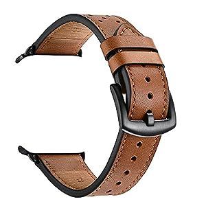 KZKR Armbänder Echt Leder Kompatibel für Smart Watch Series 5 4 3 2 1, Ersatzband Minimalistisch Lederarmband mit Edelstahl-Verschluss, 42mm, braun