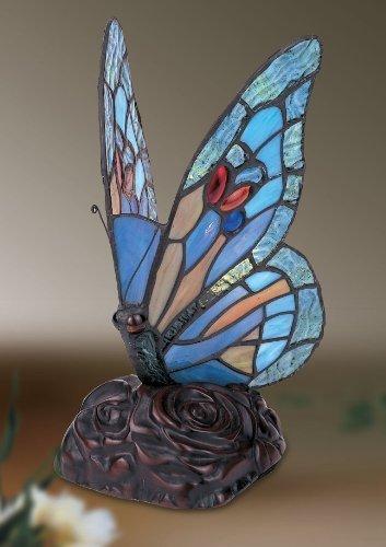 Schmetterling Tiffany Tischlampe Gefärbtes Glas (Schmetterling Bronze Tischlampe)