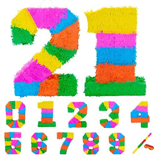 Fax Potato Pinata Set mit Stick & Blindfold - 21. Geburtstag/Jahrestag - Rainbow