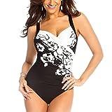 Inlefen Damen Oversize Badeanzug Elegant Printing Tankinis Bademode große größen Bikini-Sets SchwarzWeiss