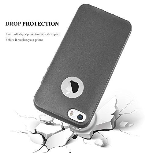 Cadorabo - >                Apple iPhone 5 / 5S                < TPU Ultra Slim matte Metallic Silikon Hülle - Case Cover Schutz-Hülle in METALLIC-ROT METALLIC-GRAU
