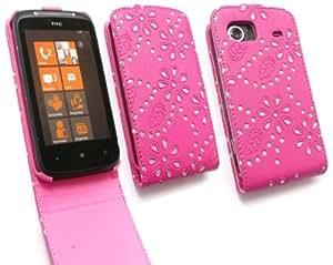 FLASH SUPERSTORE HTC MOZART DIAMANTE PREMIUM CERISE PINK FLIP CASE/COVER WITH BUILT IN PHONE HOLDER